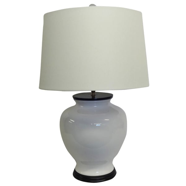 White Chic Porcelain Lamp White shade with Wood Base