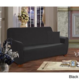Elegant Comfort Jersey Stretch Furniture Slipcover Sofa (Option: Black)