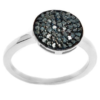 Pori Sterling Silver 1/2ct TDW Genuine Blue Diamond Pave Circle Ring