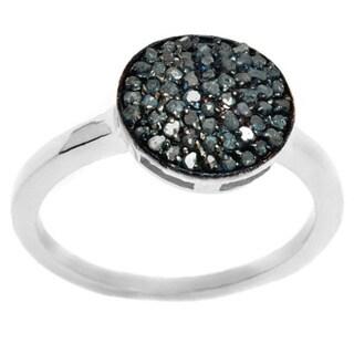 Pori Sterling Silver 1/2ct TDW Genuine Blue Diamond Pave Circle Ring