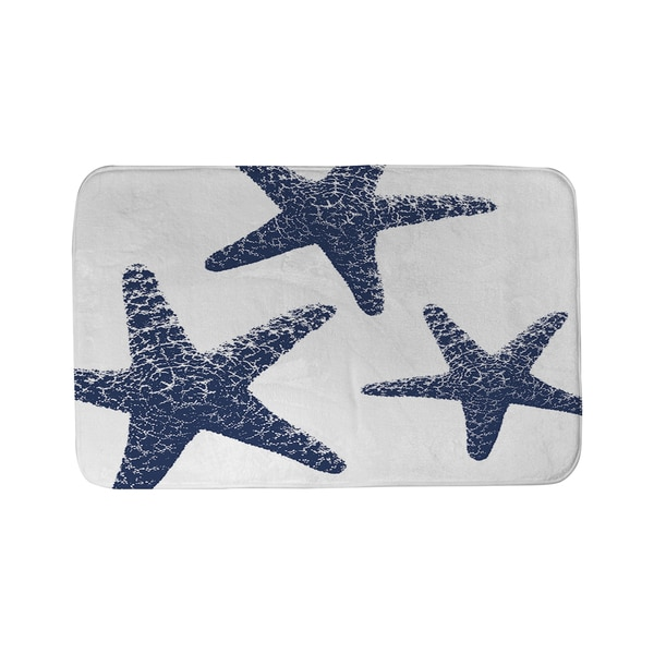 Nautical Nonsense Blue White Starfish Bath Mat