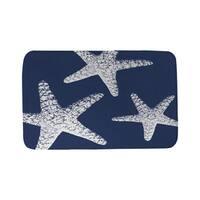 Nautical Nonsense White Blue Starfish Bath Mat