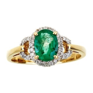 Anika and August 10k Yellow Gold Oval-cut Emerald and Diamond Accent Ring