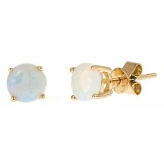 Anika and August 10k Yellow Gold Round-cut Australian Opal Earrings