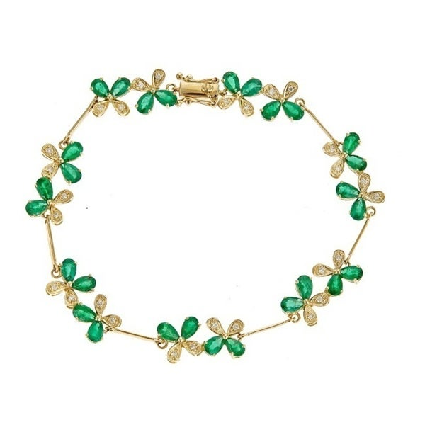 Anika And August 14k Yellow Gold Pear Cut Emerald Bracelet