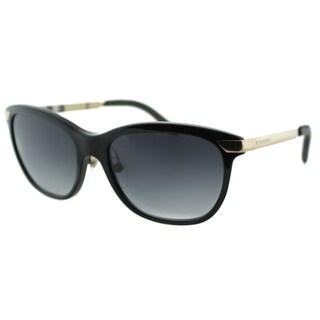 Burberry Women's BE 4169Q 30018G Black/ Gold Plastic Cat Eye Sunglasses