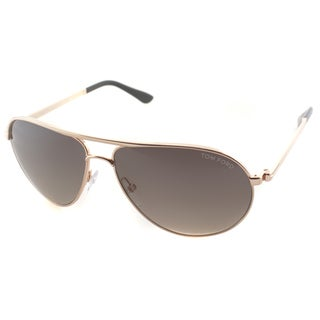 Tom Ford Men's TF 144 Marko 28D Shiny Rose Gold Metal Aviator Polarized Sunglaases