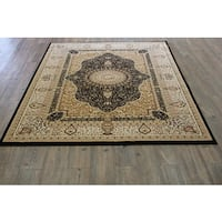 Black Isfahan Persian Area Rug (5'3 x 7'5)