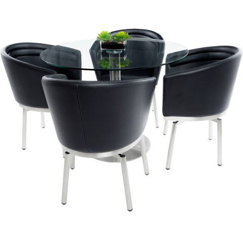MIX Brushed Stainless Steel Round Glass Dining Table and Memory Swivel Chairs 5-piece Set
