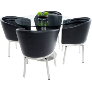 MIX Brushed Stainless Steel Round Glass Dining Table and Memory Swivel Chairs 5-piece Set (2 options available)