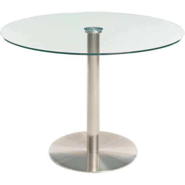 Brushed Stainless Steel Round Glass Dining Table And Memory Swivel Chairs  5 Piece Set   Free Shipping Today   Overstock.com   18001321