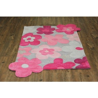 Pink Grey Rose Hand-tufted Kids Rug (4' x 6' )