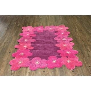 Pink Magenta Hand-tufted Kids Rug (4' x 6')