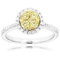 Luxurman 14k Gold 7/8ct TDW Halo White Yellow Diamond Ladies Cluster Engagement Ring (Yellow)
