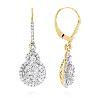 Luxurman 14k White or Yellow Gold 2 1/4ct TDW High End Cluster Diamond Drop Earrings