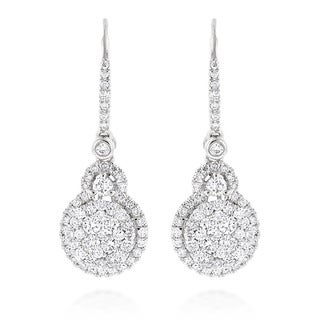 Luxurman 14k White Gold 2 1/4ct TDW High End Cluster Diamond Drop Earrings (G-H, VS1-VS2)