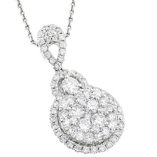 Luxurman 14k White Gold 1 3/4ct TDW Cluster Diamond Drop Pendant (G-H, VS1-VS2)