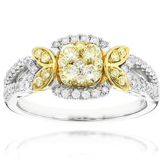 Luxurman 14k White Gold 1ct TDW Yellow Diamond Engagement Ring