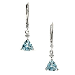 Anika and August 10k White Gold Trillion-cut Aquamarine and Diamond Accent Earrings