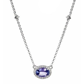 Anika and August 14k White Gold Oval-cut Tanzanite and Diamond Accent Necklace