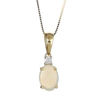 Anika and August 10k Yellow Gold Oval-cut Australian Opal and Diamond Accent Pendant