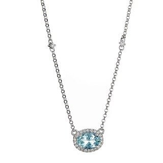 Anika and August 14k White Gold Oval-cut Aquamarine and Diamond Accent Necklace