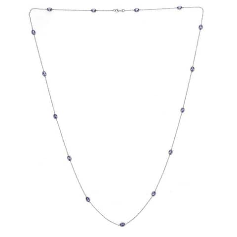 Anika and August Sterling Silver Oval-cut Tanzanite Necklace