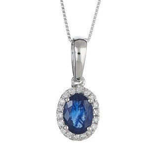 Anika and August 14k White Gold Oval-cut Blue Sapphire and Diamond Accent Pendant