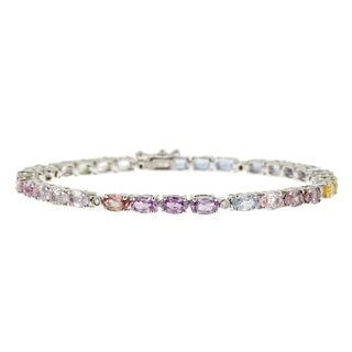 Anika and August 14k White Gold Oval-cut Natural Fancy Sapphire Bracelet