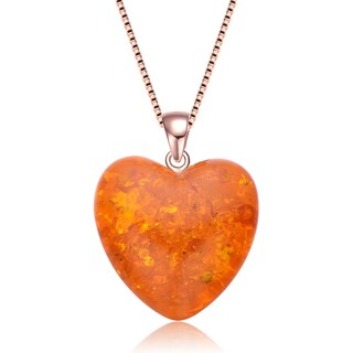 Collette Z Sterling Silver Orange Cubic Zirconia Heart Shaped Pendant - White