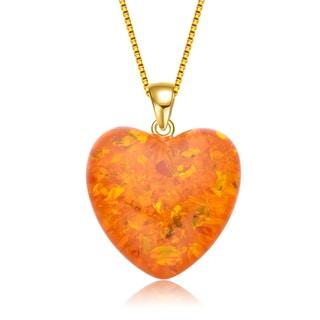 Collette Z Sterling Silver Orange Cubic Zirconia Heart Shaped Pendant