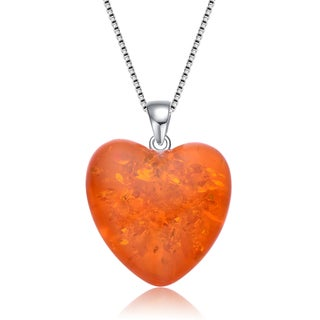 Collette Z Sterling Silver Orange Cubic Zirconia Heart Shaped Pendant