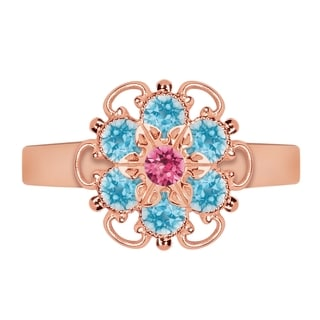 Lucia Costin Rose Goldplated Sterling Silver Pink/ Light Blue Crystal Ring