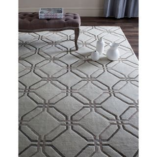 Safavieh Hand-knotted Tibetan Modern Geometric White Wool Rug (9' x 12')|https://ak1.ostkcdn.com/images/products/10978874/P18001420.jpg?impolicy=medium