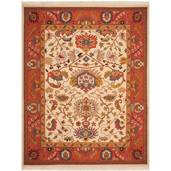 Safavieh Hand-woven Sumak Ivory/ Rust Wool Rug - 8' x 10'