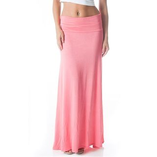 Soho Women Coral Solid Stretch Fitted Maxi Skirt