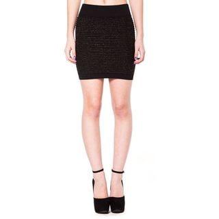 Soho Junior Horizontal Line Textured Gold Lurex Mini Skirt