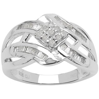 Olivia Leone Sterling Silver 2/5ct TDW White Diamond Ring (I-J, I2-I3)