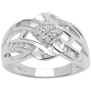 Olivia Leone Sterling Silver 2/5ct TDW White Diamond Ring