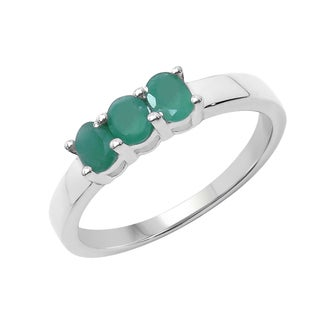 Sterling Silver 1/2ct TGW Emerald Ring