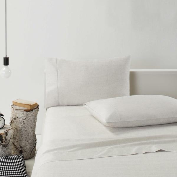 Lauren Taylor Solid Color Cotton Flannel Sheet Set