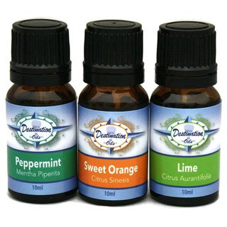 Essential Oil for Energy and Alertness 3-piece Gift Set with Lime, Peppermint, and Orange by Destination Oils