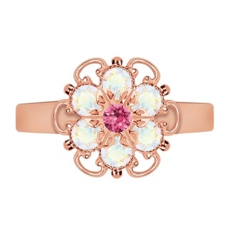 Lucia Costin Rose Goldplated Sterling Silver Pink/ White Crystal Adjustable Ring