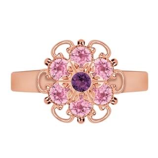 Lucia Costin Rose Goldplated Sterling Silver Light Pink/ Violet Crystal Dot Ring