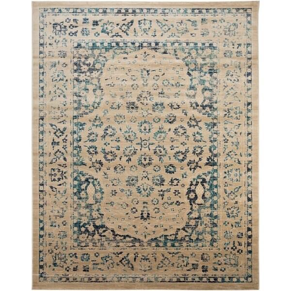 Safavieh Evoke Vintage Oriental Beige/ Turquoise Distressed Rug (8' x 10') - 8' x 10'