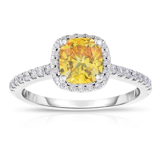 Solaura Collection 14k White Gold 1 1/2ct TDW Cushion-cut Lab-grown Diamond Halo Ring (H-I, I1)