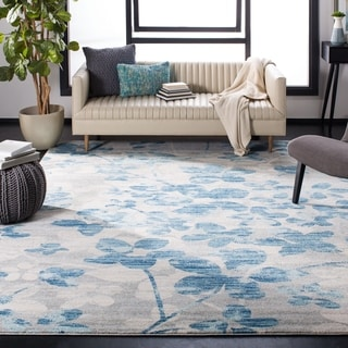 Safavieh Evoke Vintage Floral Grey / Light Blue Distressed Rug (9' x 12')