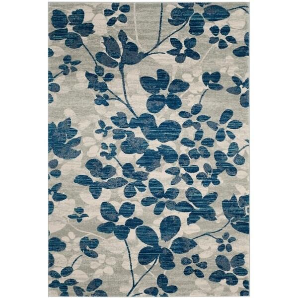 Safavieh Evoke Vintage Floral Grey / Light Blue Distressed Rug - 9' x 12'