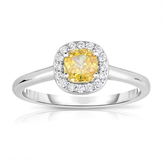 Solaura Collection 14k White Gold 3/4ct TDW Cushion-cut Lab-grown Diamond Halo Ring