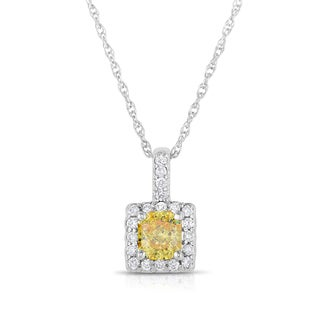 Solaura Collection 14k White Gold 3/4ct TDW Radiant-cut Lab-grown Halo Pendant